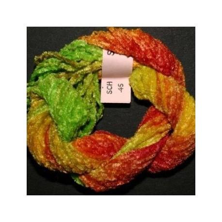 Chenille de soie vert rouge jaune 45