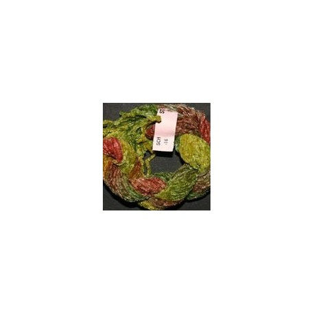 Chenille de soie vert marron 16