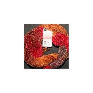 Chenille de soie rouge marron 7
