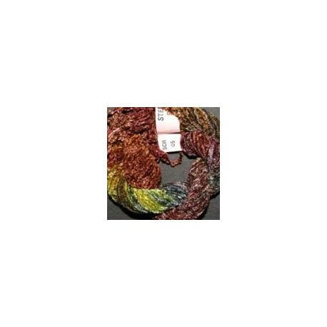 Chenille de soie marron vert 5