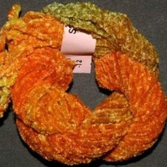 Chenille de soie orange vert 12
