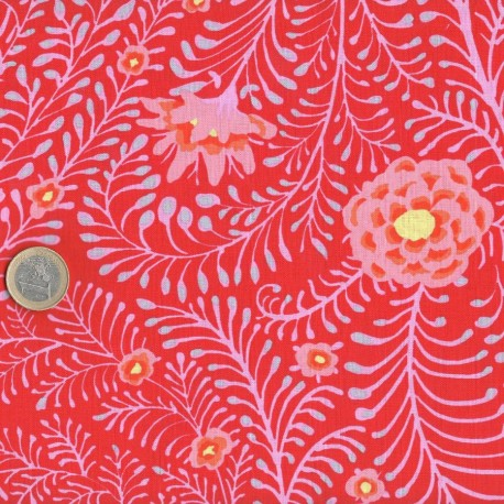 Tissu patchwork Kaffe Fassett rouge Ferns