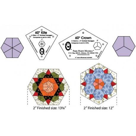 Gabarits pour patchwork de Marti Michell -Cerf-volant et couronne