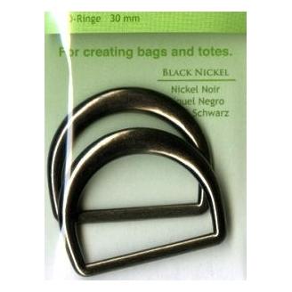 Anneaux en D pour sacs de 30mm couleur nickel noir
