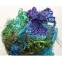 Fibres de soies bleu/violet/jaune