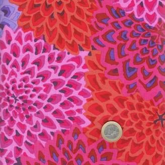 Tissu patchwork Kaffe Fassett Dahlia Blooms fuchsia orange