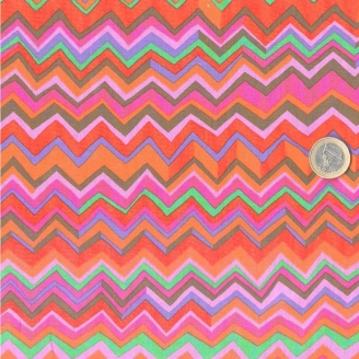 Tissu Brandon Mably Zig zag rose orange