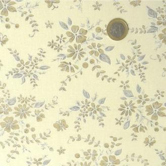 Tissu à fleurs beiges fond crème
