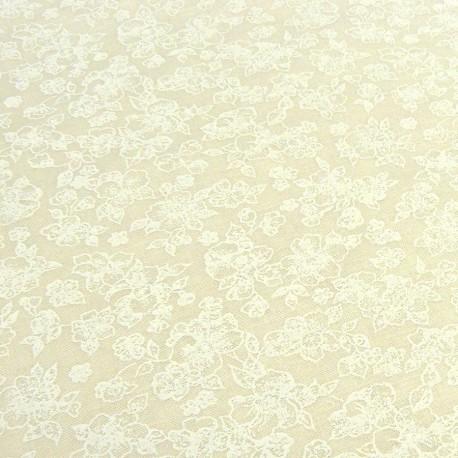 Tissu faux-uni écru fleurs
