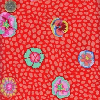Tissu Kaffe Fassett Fleur de Guinée rouge (Guinea flower)