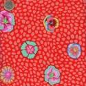 Tissu Kaffe Fassett Fleur de Guinée rouge APRICOT(Guinea flower.)