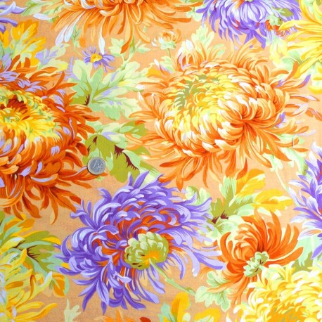 Tissu Philip Jacobs - Grandes fleurs Shaggy fond pêche