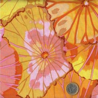 Tissu Kaffe Fassett jaune feuille de Lotus (Lotus leaf))