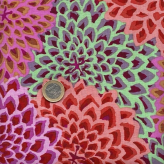 Tissu Kaffe Fassett Dahlia Blooms fuchsia orange