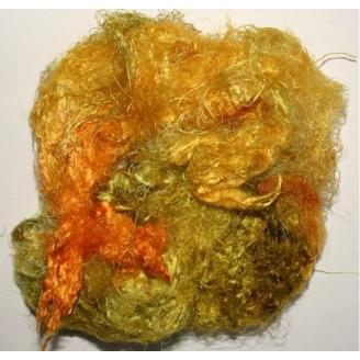 Fibres de soies jaune orange vert