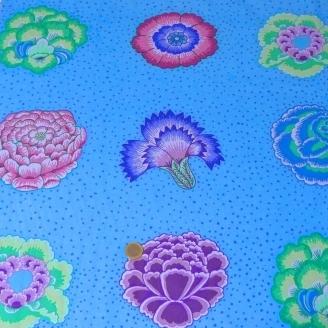 Tissu Kaffe Fassett grandes fleurs CORSAGE Bleu (40 cm)