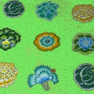 Tissu Kaffe Fassett grandes fleurs CORSAGE vert (40 cm)