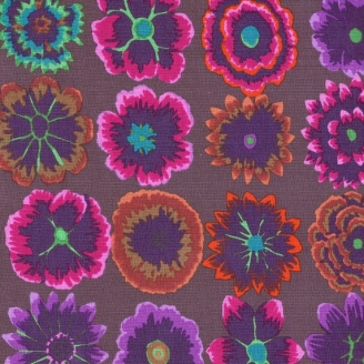 Tissu Kaffe Fassett BUTTON FLOWERS prune