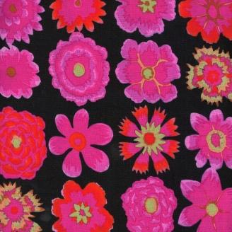 Tissu Kaffe Fassett BUTTON FLOWERS noir