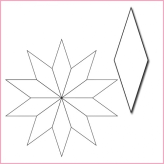 Losange 1 inch 1/4 - Etoile à 10 branches - Gabarit bristol