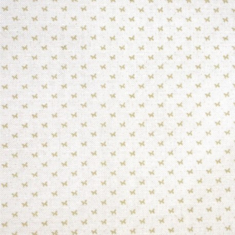 Tissu imprimé mini papillon beige fond blanc