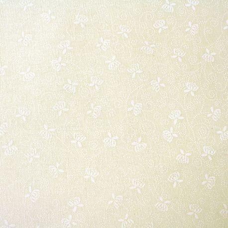 Tissu imprimé mini nénuphar blanc fond écru