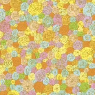 Tissu Kaffe Fassett jaune à spirales Rolled Paper GP158