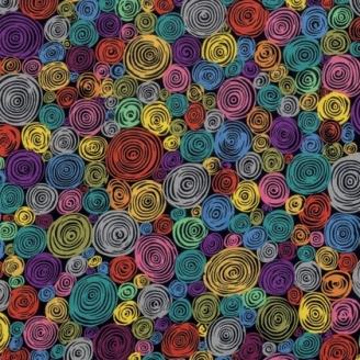 Tissu Kaffe Fassett noir à spirales Rolled Paper GP158