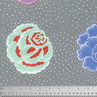 Tissu Kaffe Fassett grandes fleurs CORSAGE gris (35 cm)