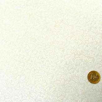Tissu en grande largeur (270 cm) blanc imprimé de feuilles