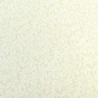 Tissu en grande largeur (270 cm) écru imprimé de feuilles