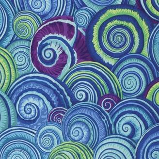 Tissu Philip Jacobs - Coquillages bleus (Spiral shells)