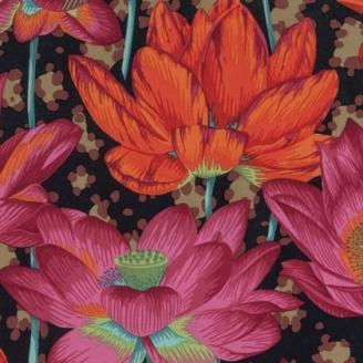Tissu Philip Jacobs Leopard Lotus fuchsia et noir PJ81