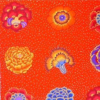 Tissu Kaffe Fassett grandes fleurs CORSAGE orange (35 cm)