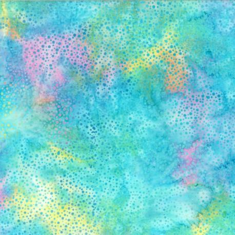 Tissu batik bleu pastel pétillant