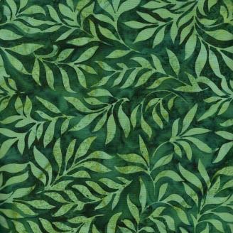 Tissu batik feuillages vert chlorophylle