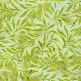 Tissu batik feuillages vert avocat