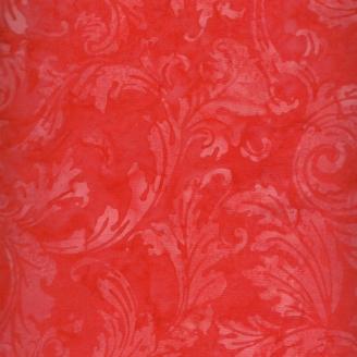 Tissu batik feuilles stylisées rouge tomate