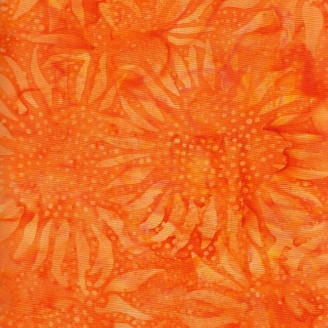 Tissu batik tournesols orange papaye