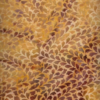Tissu batik pétales bruns fond ocre