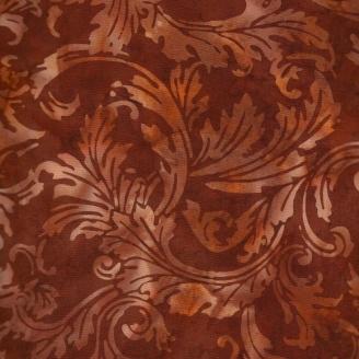 Tissu batik feuilles stylisées marron chaud