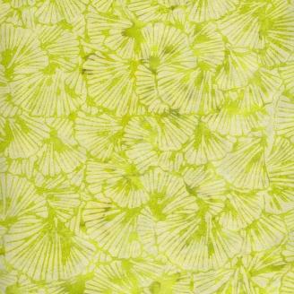 Tissu batik feuilles de Ginko vert anis