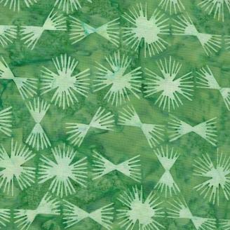 Tissu batik éclosions fond vert