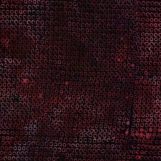 Tissu batik minis carrés rouges fond noir