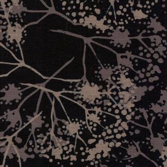Tissu batik branches grises fond noir