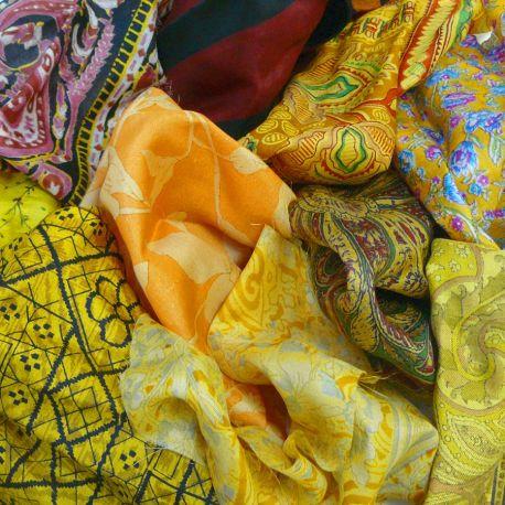 Saris recyclés - Curry et safran