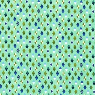 Tissu patchwork Tula Pink losanges bleus fond menthe à l'eau Track flags - Slow & steady