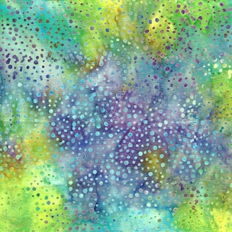 Tissu batik turquoise jaune violet pétillant