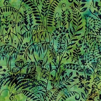 Tissu batik herbes bleu marine fond vert turquoise