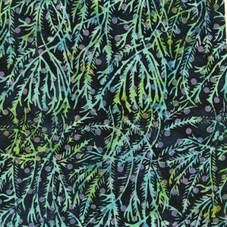 Tissu batik feuillage vert violet fond marine